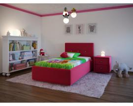 Недорогая и компактная, абсолютно безопасная, мягкая детская кровать Bianco, с изголовьем, украшенным пуговицами.
